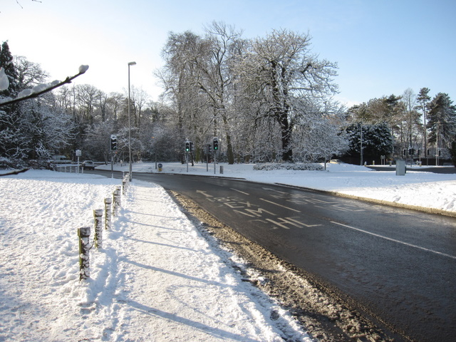Overleigh Roundabout on a snowy day