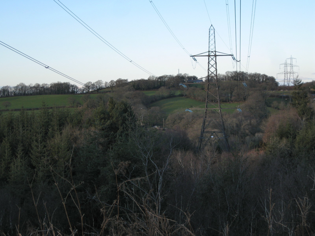 Power lines over Westwood Farm, Haldon