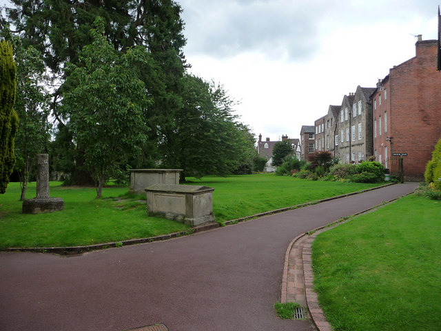 Looking south in Churchyard, Much Wenlock