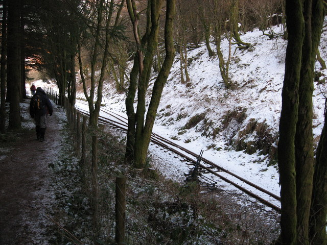 Forest path and Brecon Mountain Railway