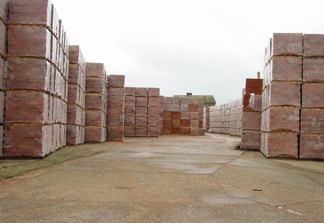 Stacks of bricks at Hammill brickworks