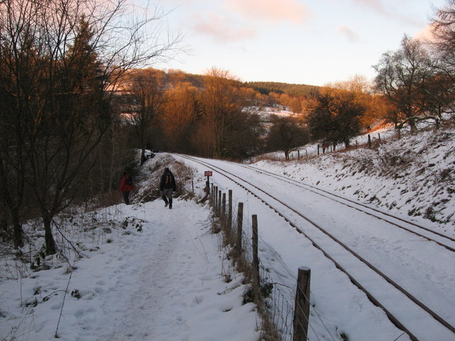 Path beside the Brecon Mountain Railway