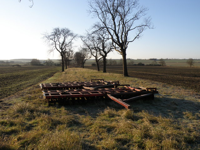 Disc harrows parked in the avenue