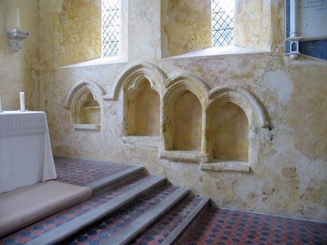 St Mary, North Stoke, Sussex - Piscina & sedilia