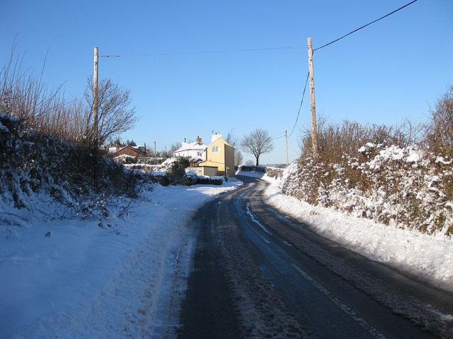 Winter scene near Cross Cottages, B4224