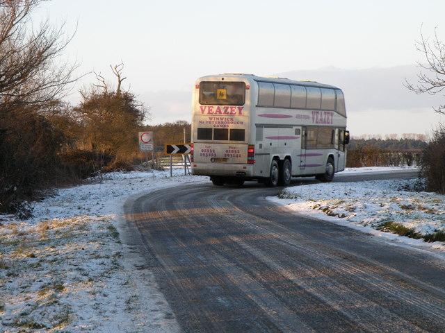 School bus taking it easy near the Bullock Road