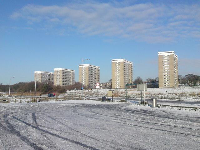 Social Housing Tower Blocks from Weston Shore Southampton Water