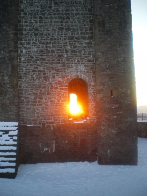 Clitheroe Castle arch windows at Sunset
