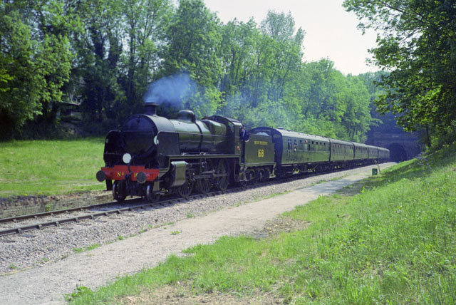 1618 and train leave Sharpthorne Tunnel, 1992