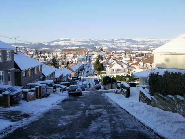 The view down snowy Graig Park Road, Newport