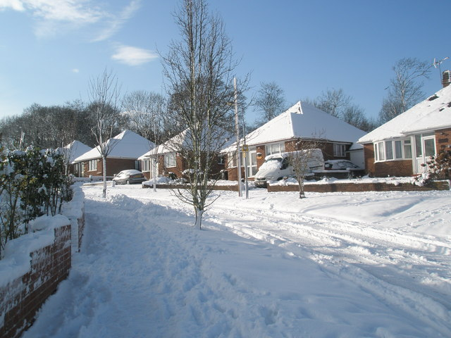 Snow covered homes in Pinewood Avenue