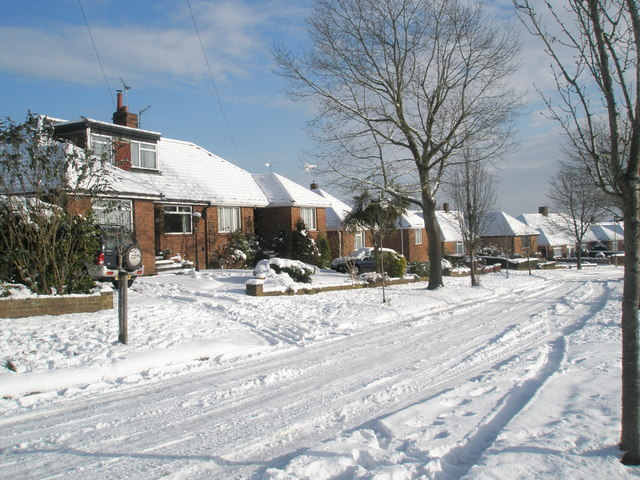 Snow covered homes in Oakwood Avenue