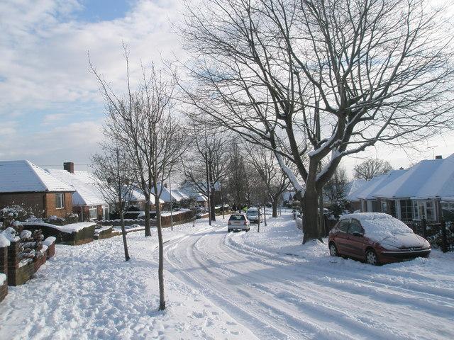 Slight bend in a snowy Oakwood Avenue