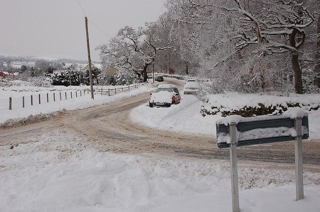 Edderston Road in snow, Peebles