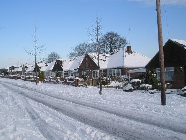 Snow covered homes in Littlepark Avenue