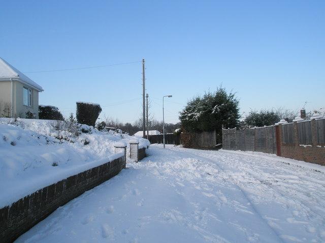 A snowy Ashwood Close