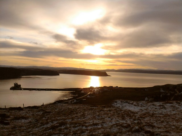 Winter sunset over Uig Bay