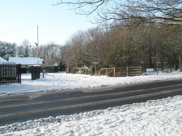 Looking across Hulbert Road into a snowy  Willowdene Close