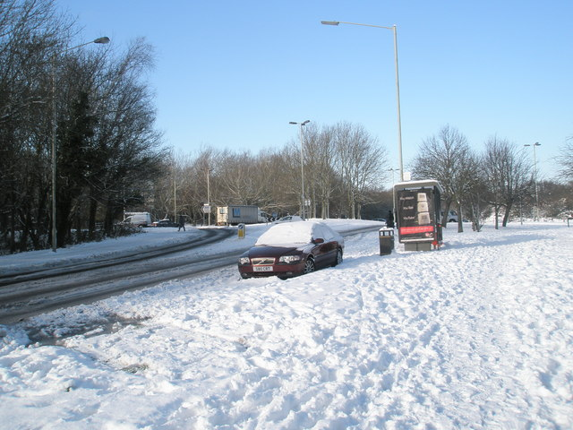 A snowy scene at the top of Hulbert Road