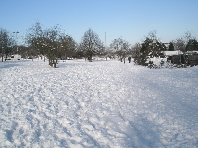 Snowy path at the top of Hulbert Road
