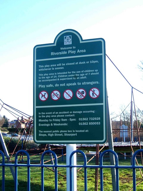 Riverside Play Area information board, Stourport-on-Severn