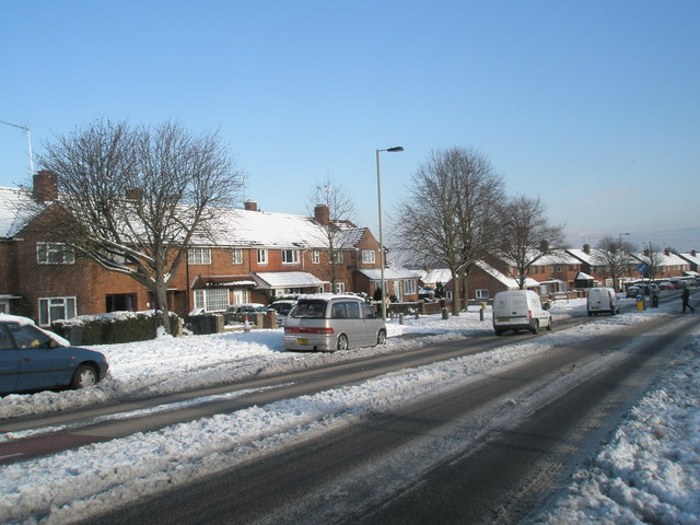 A snowy scene in Purbrook Way