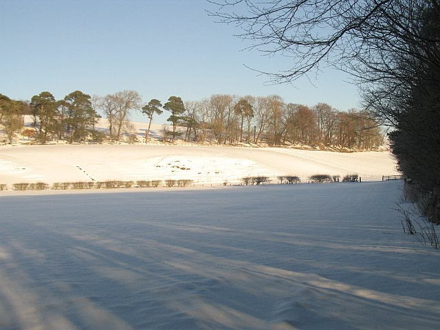 Snow covered fields, Flotterstone