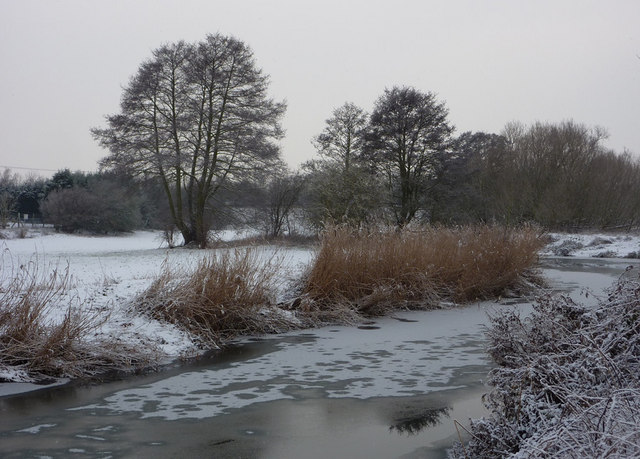 River Gipping with snow and ice