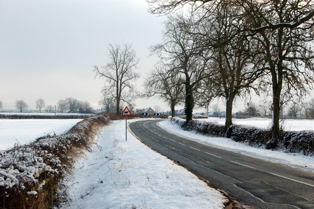 Looking east at snow along Welsh Road, Southam