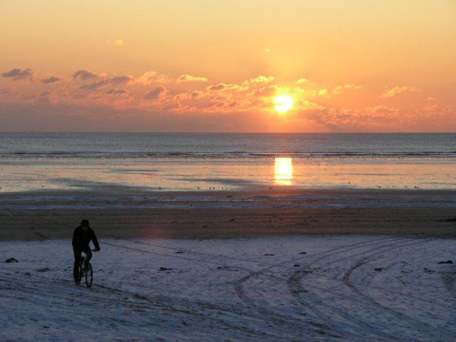 Sunset over Cefn Sidan beach