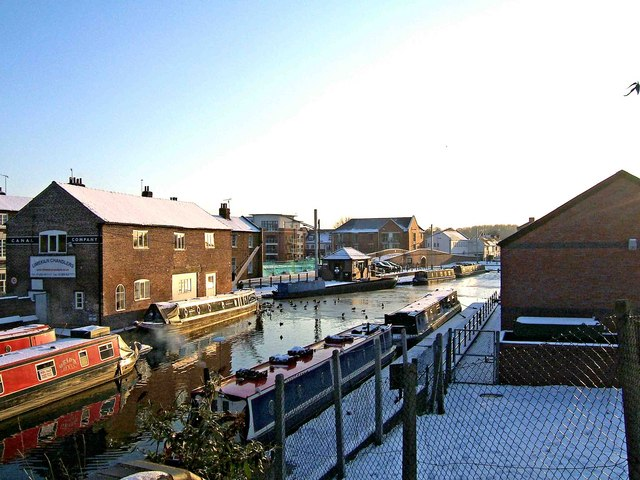 Canal basin in winter