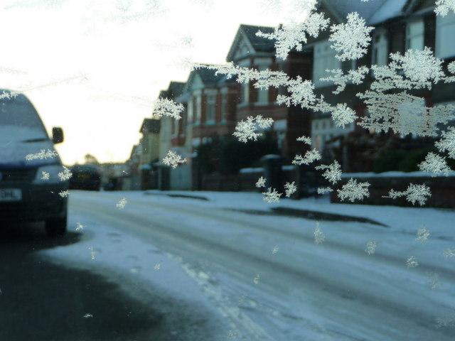 Winton: Strouden Road through a frosty window