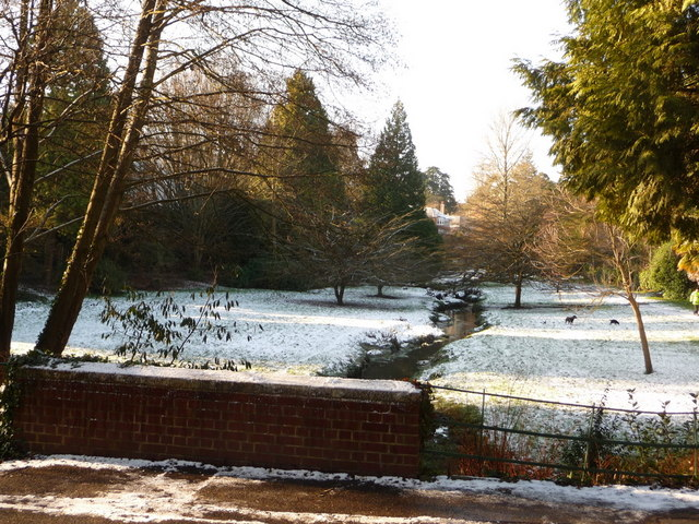 Bournemouth Gardens: upstream from Queen's Road in snow
