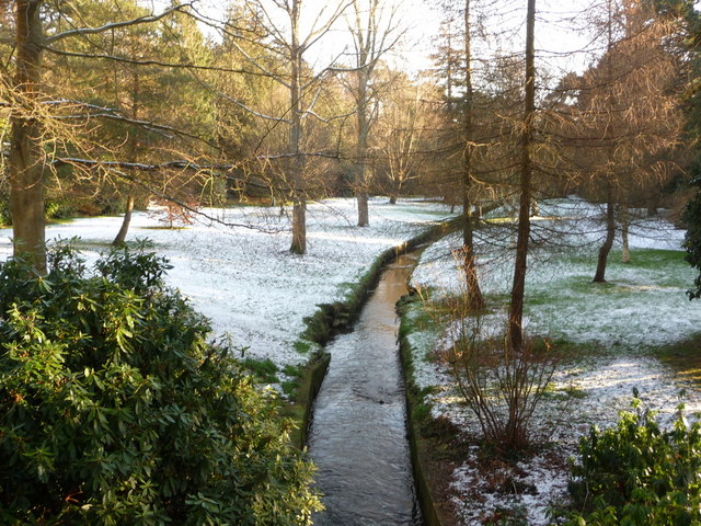Bournemouth Gardens: downstream from Queen's Road in snow