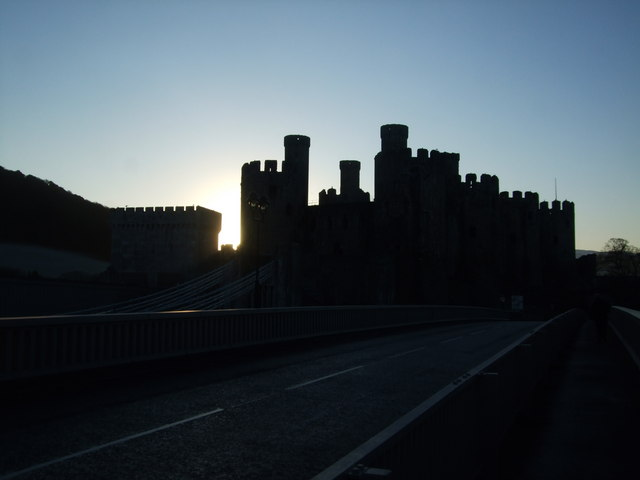 Conwy Castle in silhouette