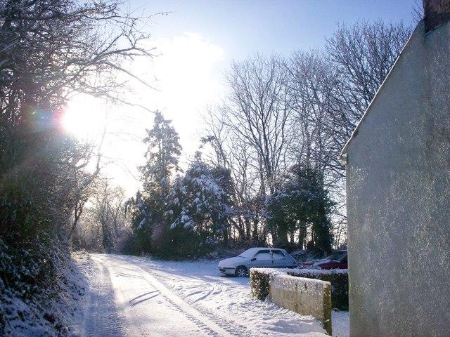 Snow at Sandy Grove - Llanteg