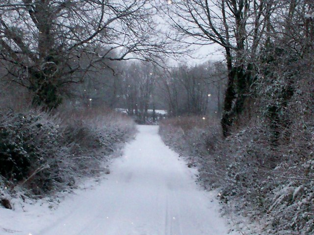 Snowy Trenewydd Lane into farm - Llanteg