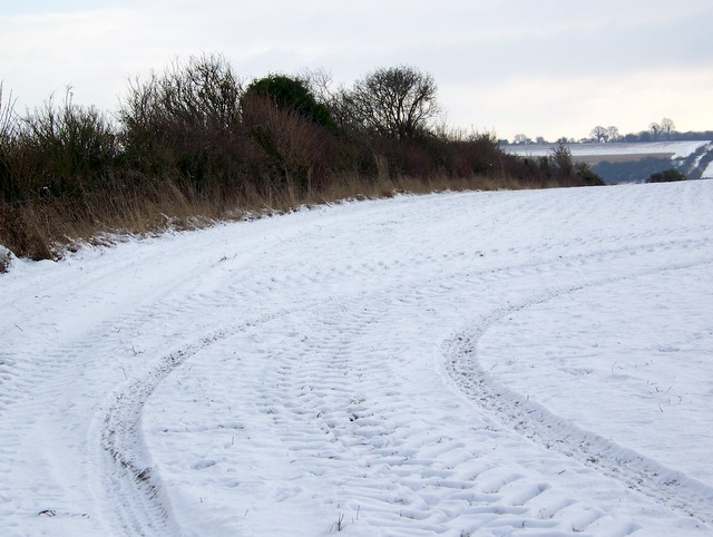 Tracks in the snow, Knighton Hill