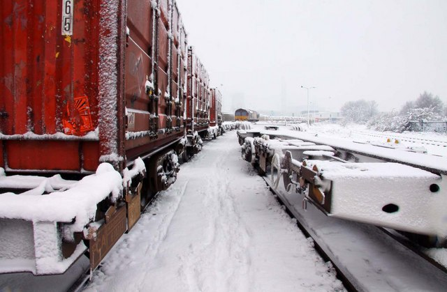 Snow between the wagons