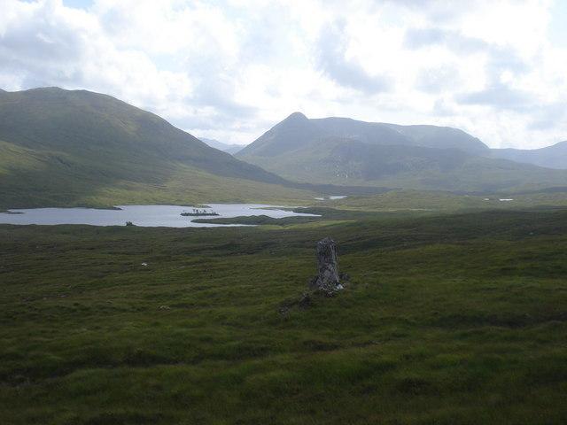 Loch an tachdaidh and the massive hulk of Aonach Buidhe from near Allt Coire a'Charra