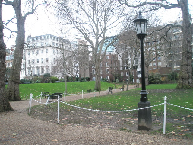 Empty seats within Lincoln's Inn Gardens