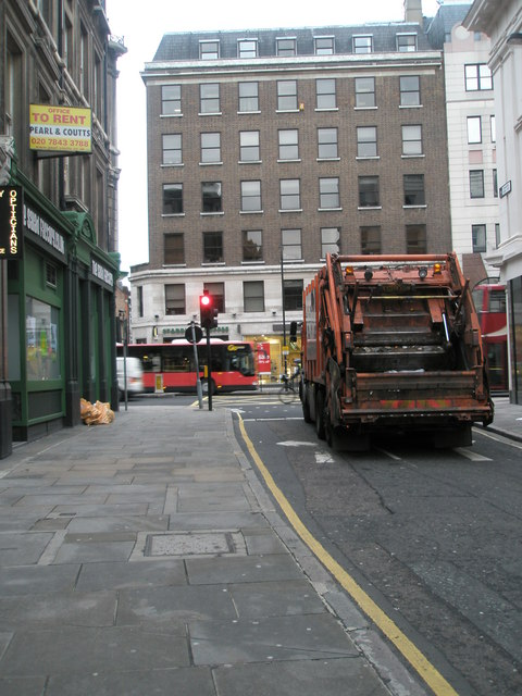 Dustcart at the junction of Chancery Lane and High Holborn