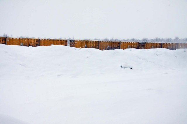 GLC waste container train hiding in the snow