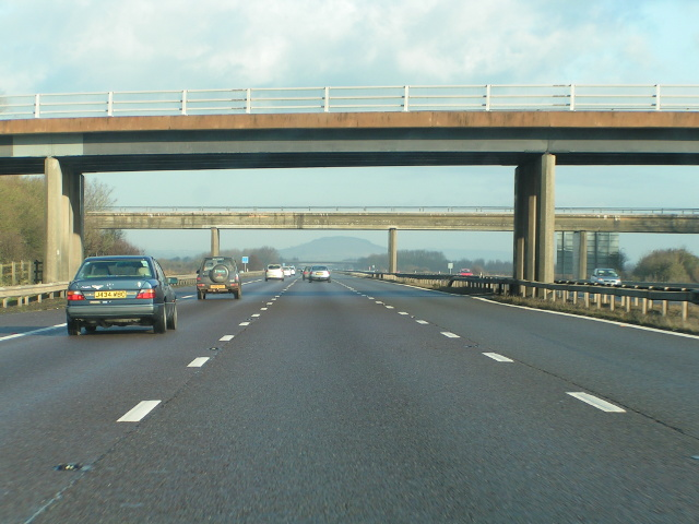 Bridges crossing the M5 and Brent Knoll in the distance