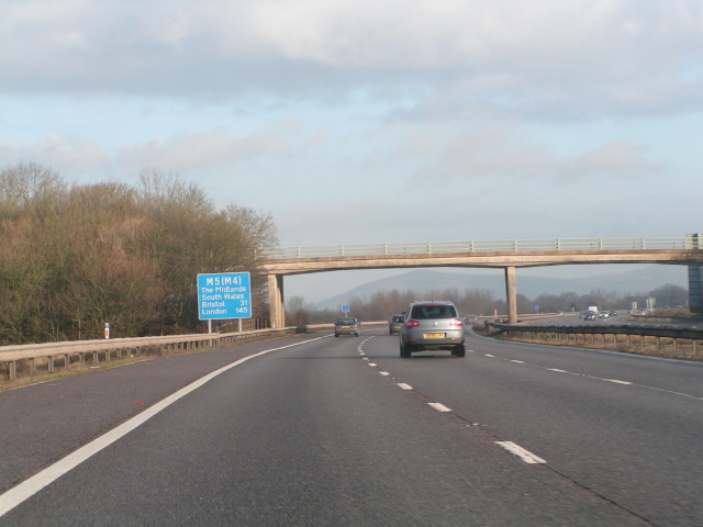 Northbound M5 with a glimpse of the Mendips in the distance