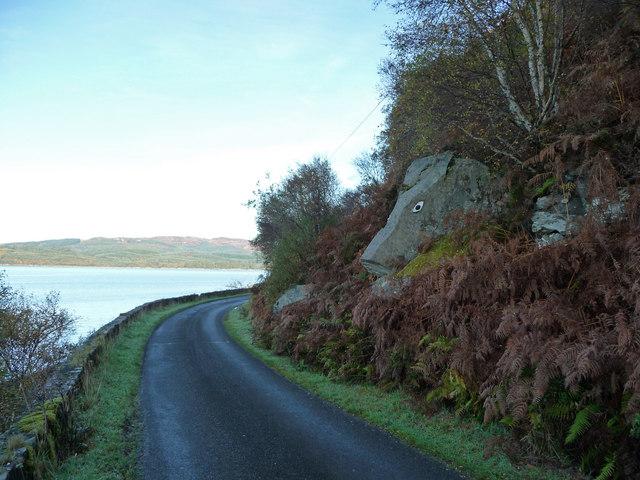 Painted rock beside  Loch Fyne