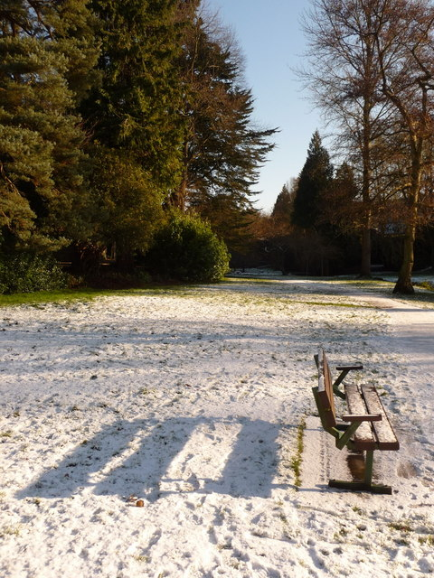 Bournemouth Gardens: shadow of bench on snow