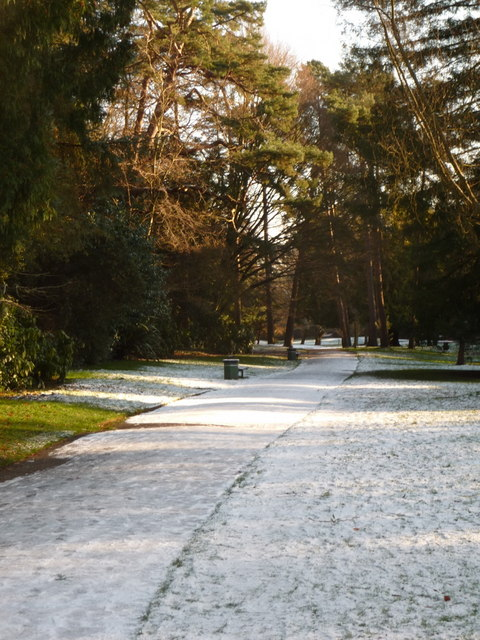 Bournemouth Gardens: path on north edge after snowfall