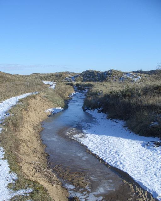Frozen stream at Merthyr Mawr Warren
