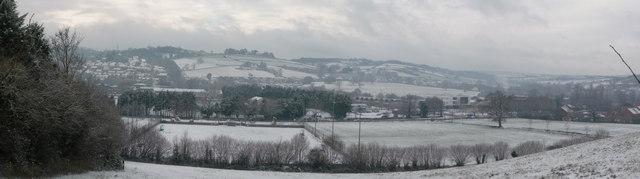 Tiverton : Snow & Wintery Scenery Overlooking Tiverton